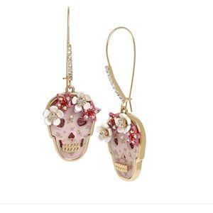 1b40445025b79 Betsey Johnson Opulent Floral 🌹Skull Earrings NWT